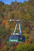 Tram car of Ober Gatlinburg Aerial Tramway in autumn.