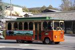 Gatlinburg trolley on Green Route through town.