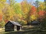 Alex Cole farm log cabins on Roaring Fork Motor Nature Trail in autumn in Great Smoky Mountains National Park