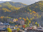 Gatlinburg, Tennessee, next to Great Smoky Mountains National Park, in autumn.