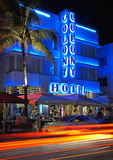 Evening traffic on Ocean Drive in South Miami Beach at the art deco Colony Hotel.