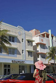 Art deco hotels on Ocean Drive in South Miami Beach.