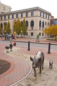 Sculptures of Pig & Piglet and 2 Turkeys on Urban Trail at Pack Square in downtown Asheville, North Carolina.