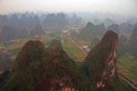 Aerial view of karst peaks near Yangshuo in Guangxi (Guilin area).