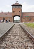 Birkenau gate, Auschwitz-Birkenau Memorial Museum.