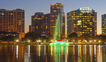 Orlando downtown skyline reflected in Lake Eola.