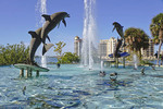 Dolphin Fountain on bayfront Island Park in Sarasota, Florida.