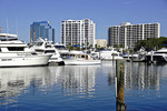 Yachts in Marina and city skyline from bayfront Island Park in Sarasota, Florida.