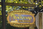 Sign for The Backyard at Meehan's Island Cafe & Tropical Bar in old town of St. Augustine, Florida