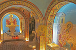 Byzantine style frescoes in St. Photios Chapel, Greek Orthodox national shrine, St. Augustine, Florida.
