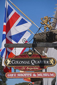 Colonial Quarter sign for a gift shoppe & museum in old town St. Augustine, Florida.