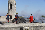 Cannon firing at Castillo de San Marcos, Spanish built fortress in St. Augustine, Florida.