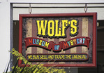 Sign for Wolf's Museum of Mystery in old town of St. Augustine, Florida