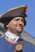 Historical reenactor as Spanish soldier at Castillo de San Marcos, Spanish built fortress in St. Augustine, Florida.