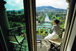 Bern, Switzerland: View from room at Bellevue Palace Hotel of Aare River.