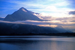 Lake Thune, Switzerland: Clouds in morning swirling over Lake Thune (Thuner See) near Interlaken