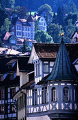 St. Gallen, Switzerland: traditional architecture near city cathedral