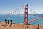 San Francisco Golden Gate Bridge with young fans.