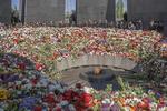 Armenian military at commemoration at 100th anniversary of the Armenian genocide at the Armenian Genocide Memorial in Yerevan on April 26, 2015