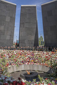 Commemoration at 100th anniversary of the Armenian genocide at the Armenian Genocide Memorial in Yerevan on April 26, 2015
