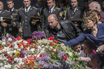 Armenians laying flowers at commemoration at 100th anniversary of the Armenian genocide at the Armenian Genocide Memorial in Yerevan on April 26, 2015.