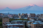 Yerevan, Armenia, at dawn with light on Mount Ararat.