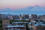 Yerevan, Armenia, at dawn with light on Mount Ararat.