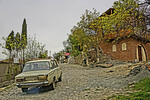 Old car on street of Village of Sighnagi, Republic of Georgia.