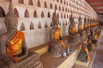 Buddhas at Wat Sisaket Buddhist Monastery in Vientiane, Laos.