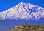Khor Virap Armenian Apostolic Church Monastery in Armenia with Turkey's Mount Ararat in background.