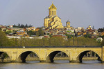 Holy Trinity (Sameba) Cathedral of Tbilisi and Dry Bridge on Mtkvari River.