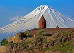 Khor Virat Armenian Apostolic Church monastery with Mount Ararat in Turkey looming behind it.