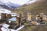 Towers in Ushguli, highest village in Europe, in Upper Svaneti region of Caucasus Mountains.