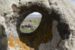 Holed stone aligned to celestial event at Armenian Stonehenge, Carahunge stone circle, 7500 year old megalithic site.