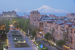 Yerevan at dawn from the Great Cascade overlooking Republic Square with Mount Ararat in distance.
