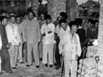 Mao Zedong inspecting backyard steel furnaces in Anqing during Great Leap Forward political campaign.