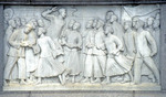 Relief in stone in Beijing's Tiananmen Square commemorating the May 4th Movement in China.