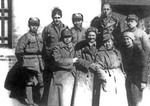 General Zhu De meting with writer Ding Ling and others in Yanan revolutionary base in 1937.