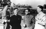 Writer Lao She (second from left) with Mei Lanfang, Liang Sicheng, and Hua Luogeng in 1950s.