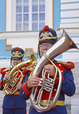 Musicians in imperial uniforms at Catherine's Palace at Pushkin in St. Petersburg, Russia.