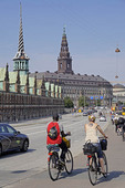 Bicycle commuters in Copenhagen Denmark.