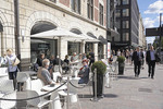 Downtown Helsinki outdoor cafe at Stockman Department Store.