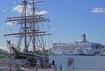Helsinki harbor with tall ship and Silja Serenade cruiseferry.