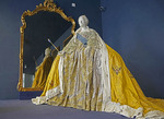Gown of Catherine the Great on display at Catherine's Palace at Pushkin in St. Petersburg, Russia.