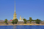 Peter and Paul Fortress with beach on Neva River in St. Petersburg, Russia.