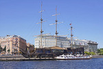 Tall ship Flying Dutchman with three floating restaurants on Neva River in St. Petersburg, Russia.
