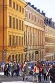 Gamla Stan (Old Town) tourist crowds in Stockholm, Sweden.