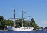 af Chapman tall ship used as a youth hostel on Stockholm harbor waterfront.