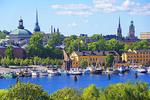 Stockholm harbor waterfront.