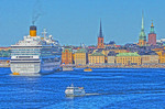 Costa cruise ship in harbor of Stockholm. (NOTE: This is PHOTO ART, a HDR Painting rendition)
